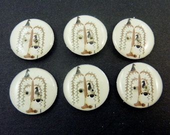 "6 Primitive Willow Tree Crow Sheep Buttons Sewing, Knitting, Crochet.  Cream Background.   3/4"" or 20 mm.  Washer and Dryer Safe."