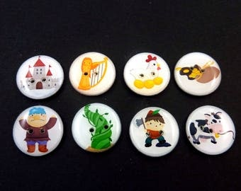 "8 Jack and the Beanstalk Buttons.  Jack, Giant, Castle, Hen, Cow and More.   3/4"" or 20 mm. Washer and Dryer Safe."