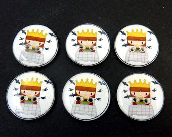 6 Sing a Song of Sixpence  Handmade Nursery Rhyme Sewing Buttons.