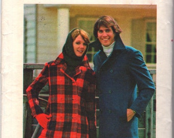 Butterick 4475 1970s Mens Double Breasted Peacoat Pattern Nautical Jacket Adult Vintage Sewing Pattern UNCUT Chest 36 NO ENVELOPE