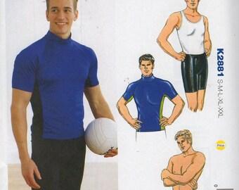 Kwik Sew 2881 Mens Sport Shirt Shorts and Swim Trunks Pattern Adult Teen Designer Sewing Pattern Size SM  M LG Xl XXl Chest 34 - 52 UNCUT