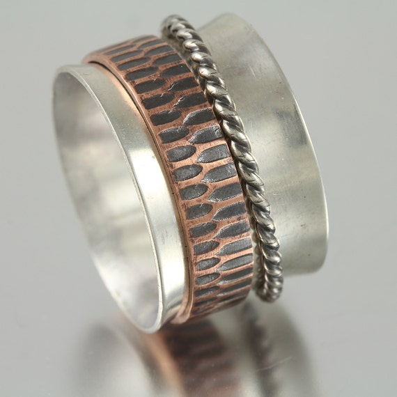 Sterling Silver Band Spinner Ring with Textured Copper and Sterling Twisted Wire Rings