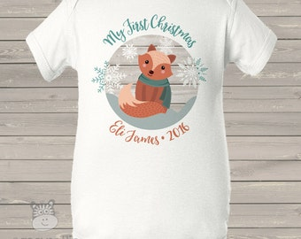 First Christmas fox personalized bodysuit or Tshirt - perfect for baby's 1st Christmas FCFS