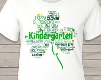 St. Patrick's Day shamrock teacher name grade personalized crew or vneck shirt for teachers SPDTS