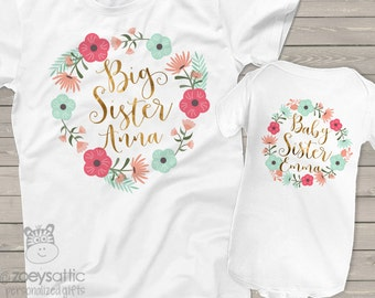 big sister little sister shirt set baby sister - adorable floral matching sibling set w/ glitter or foil for matching sister shirts BSNWRTH