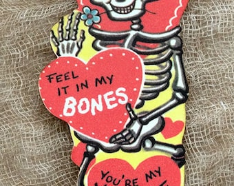 Retro I Feel It In My Bones Skeleton Valentine Gift Tags or Scrapbook Tags #272