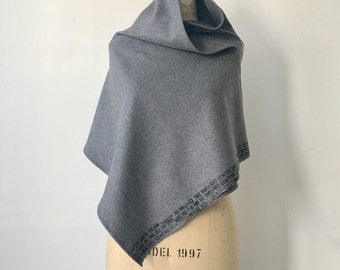 gray Wool Scarf, Accessories, Text Screen Print Scarves, edgy fashion