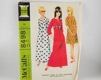 Misses Robe 1966 Vintage Sewing Pattern, McCall's 8498