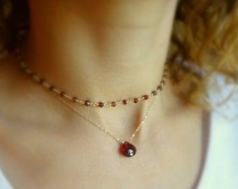 Gemstone choker necklace SET, two necklace layering set, layered necklaces, trending, Otis B etsy, birthstone jewelry, layered set