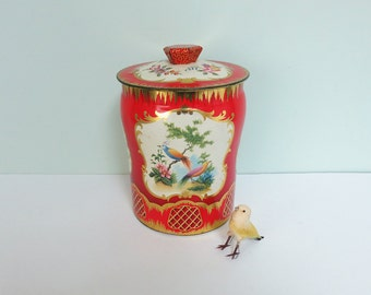 Vintage Floral Candy or Tea Tin, J. W. Horner & Co. Bright Red with Exotic Birds, Flowers and Gold Accents, Made in England