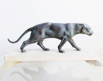 French Art Deco panther sculpture/ 1930s bronze spelter leopard statue/ art deco animal art figurine