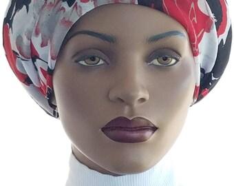Huggee Locs™ Beanie Cap Hat Semi Sheer Red Black White Mesh Knit Rasta Dread locs Tam Rastafari Dreadie Handmade
