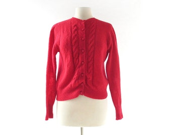 Vintage 1950s Cardigan | 50s Red Sweater | Red Wool Cardigan | Medium M