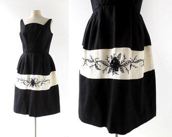 Vintage 1960s Dress | La Rose Noire | Beaded Dress | 60s Dress | Medium M