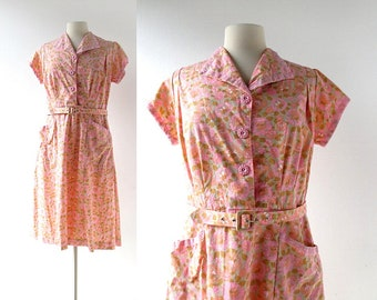 50s Pink Dress | Zinnias Floral Print Dress | 1950s Dress | Large L