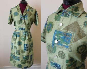 50s 60s green novelty print Asian tiki motif cotton dress
