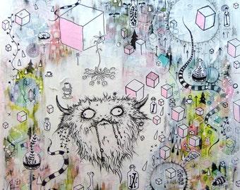 Original Art Mixed Media Monster Dream Land