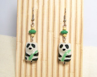 PLAYFUL PANDAS - Panda Bear Earrings- Whimsical Animal Jewelry