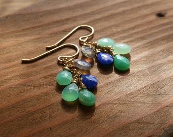 Multicolored Mini Cascade Earrings - Labradorite, Lapis Lazuli, Chrysoprase, 14kt Goldfilled Gemstone Dangle - Sea Green, Blue, Gray