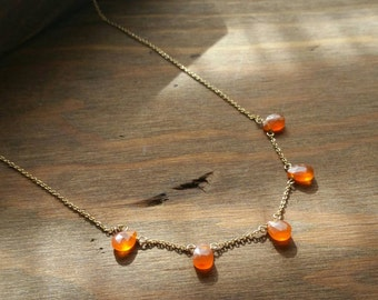 Carnelian Mini Drops Station Necklace, 14k Goldfilled Short Delicate Bright Orange Gemstone Jewelry