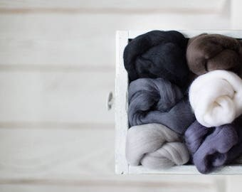 Wool roving assortment - Merino wool supplies Mixed 6 neutral colors combed tops needle felting wool Starter kit Craft gift