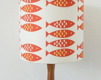 Red Lampshade Newlyn Fish print Drum Lamp Light Shade