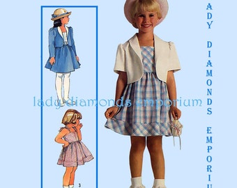Simplicity 6815 Girls Easy Dress Sundress Unlined Jacket w Shaped Hem Childs size 4 5 6 Vintage 80's Summer Sewing Pattern Uncut FF #255