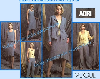 Vogue V2817 Womens 5 Piece Designer Wardrobe by Adri, Jacket Top Dress Skirt Pants size 6 8 10 Easy OOP Sewing Pattern 2817 Uncut FF