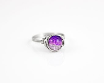 Wire Wrapped Ring - Statement Ring - Galaxy Ring - Purple Ring - Rings - Everyday Ring - Crackled Glass Ring - Stainless Steel Ring
