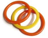 Plastic Bangle Bracelets Lot Orange & Yellow Vintage Hong Kong