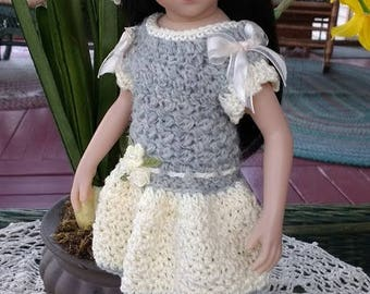 Gray/Cream Crocheted Dress & Hat for Little Darling and Maru Mini Pals Dolls