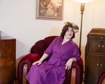 Vintage 1940s Dress - Bold Post War Rich Plum Purple Gabardine Dress with Extreme Batwing Sleeves