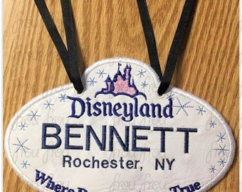 "Digital Embroidery Design Machine Applique Stroller Name Tag Dis Land With Castle IN THE HOOP Project 4""-16"""