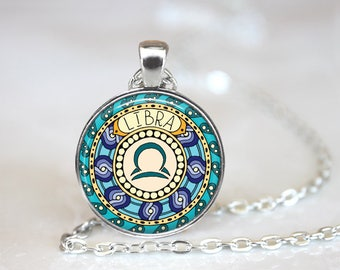 Libra Zodiac Sign Horoscope Changeable Magnetic Pendant Necklace with Organza Bag
