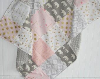 gold baby blanket- elephant baby blanket-patchwork minky baby blanket-arrow baby blanket- pink baby blanket- baby girl blanket- baby bedding