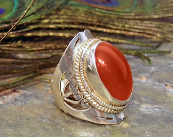 Carnelian Ring ~ Large Stone Ring ~ Chunky Sterling Silver Statement Ring ~ Red Carnelian Cabochon Ring - Size 8