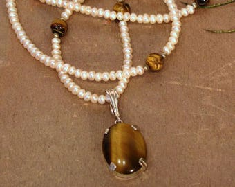 Tiger's Eye and Pearl Necklace with Enhancer ~ Dainty Freshwater Cultured Pearls with Removable Tiger Eye Pendant ~ 18 inches