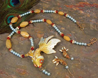 Articulated Cloisonne Gold Fish Necklace and Earrings Set ~ Carnelian, Yellow Jade, and Blue Pearls ~ 14Kt GF Jewelry Set - SS05