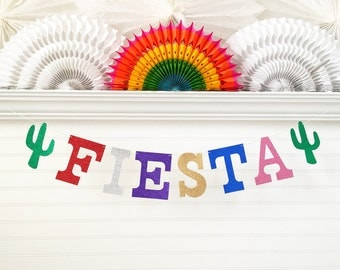 Glitter Fiesta Banner - 5 inch Letters - Fiesta Party Garland Birthday Party Decor Cinco De Mayo Party Colorful Glitter Birthday Decorations
