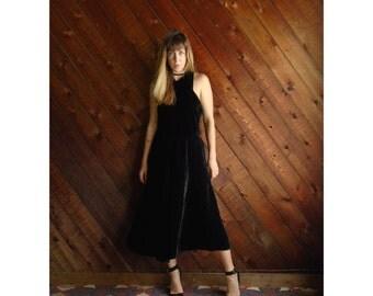 Black Velvet Long FULL Cocktail Dress - Sleeveless - Vintage 80s - Small S Medium M
