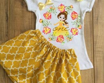 Personalized Belle Skirt Set - Belle Birthday Dress - Belle Tutu - Belle Outfit - Belle Dress - Belle Shirt