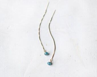 Drop Chain Earrings / Gold Filled  / Minimal Earrings / Chrysocolla Gemstone / Modern Earrings