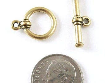 TierraCast Pewter Toggle Clasps-Antique Gold Bar & Ring (1 Set)