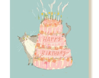 Happy Birthday Cat Card - Pink Cake