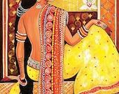 Bharat, Indian woman painting, Indian decor, Goddess art, feminine beauty, feminine decor, beauty painting, 8x12+