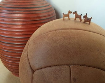 Huge Vintage Leather Medicine Ball 1970s / HEAVY LARGE Antique gym ball / 60s or 70s