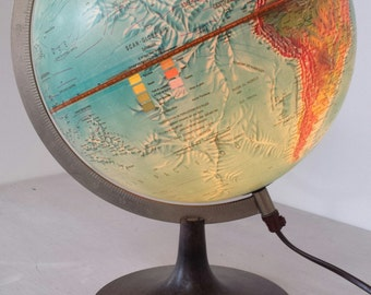 1970s GLOBE lamp Denmark / vintage illuminated world Globe 1977 / retro mid century Danish school globe / scan-globe