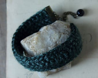 The Nine Woods Hollow Crocheted Cuff Bracelet. Boho Chic, Rustic, Hand Crocheted, Dark Forest Green Adjustable Bracelet.