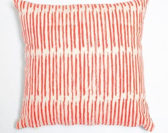 Scribble - coral, organic, hand printed modern accent pillow, eco friendly home decor, artistic throw, neutral