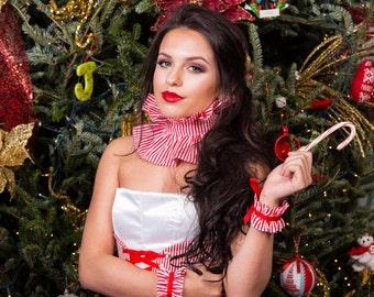 Ruffle Cuffs, Striped Ruffle Bracelets, Women's Costume, Red and White Striped Cuff, Costume Accessory